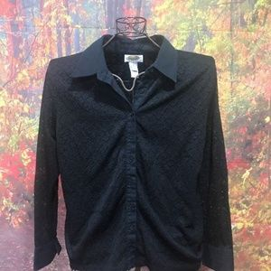 TALBOTS Black Lace Long Sleeve Lined Shirt 1X